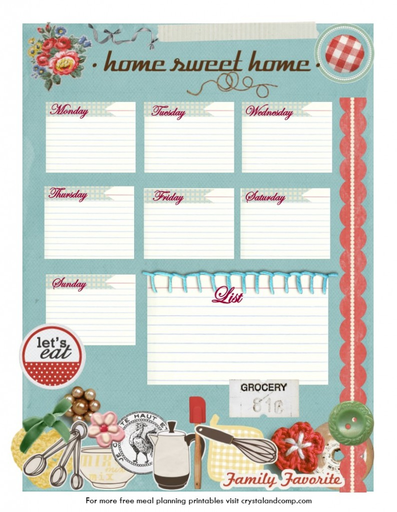 free printable meal planner home sweet home vintage theme free homeschool deals. Black Bedroom Furniture Sets. Home Design Ideas