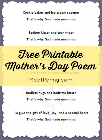 Printable Mother's Day Poem from Kids - Free! | Free Homeschool ...