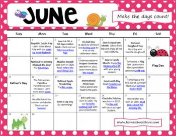 Making the Days of June Count Activity Calendar | Free Homeschool ...
