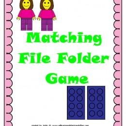 FREE Lego Matching File Folder Game