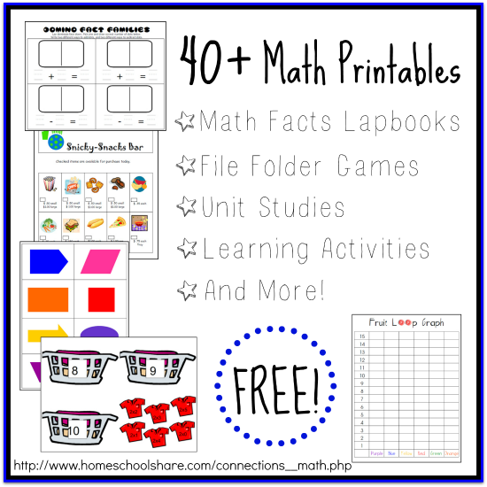 40 math printables and activities free homeschool deals. Black Bedroom Furniture Sets. Home Design Ideas