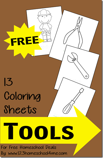 Free Coloring Sheets Tools Themed Instant Download