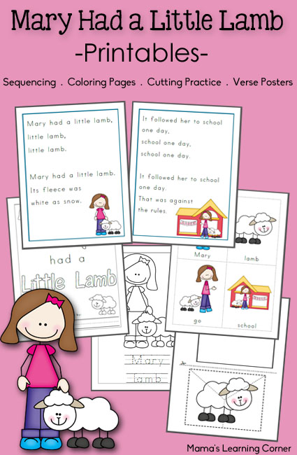 Free Printable Activities Mary Had A Little Lamb Free