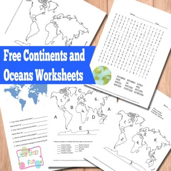 FREE Continents and Oceans Worksheets | Free Homeschool Deals ©
