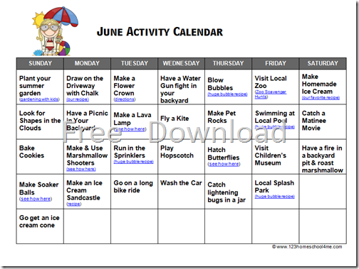 June Calendar Writing Prompts : Printable june july and august activity calendar free
