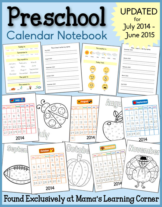 Calendar For Kindergarten Worksheets : Preschool calendar notebooks freebie free homeschool deals