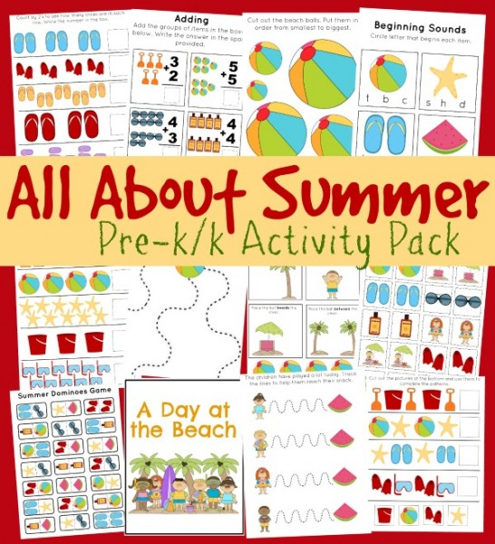 FREE Summer Fun Pack For Pre-K/ K (20+ Pages!)