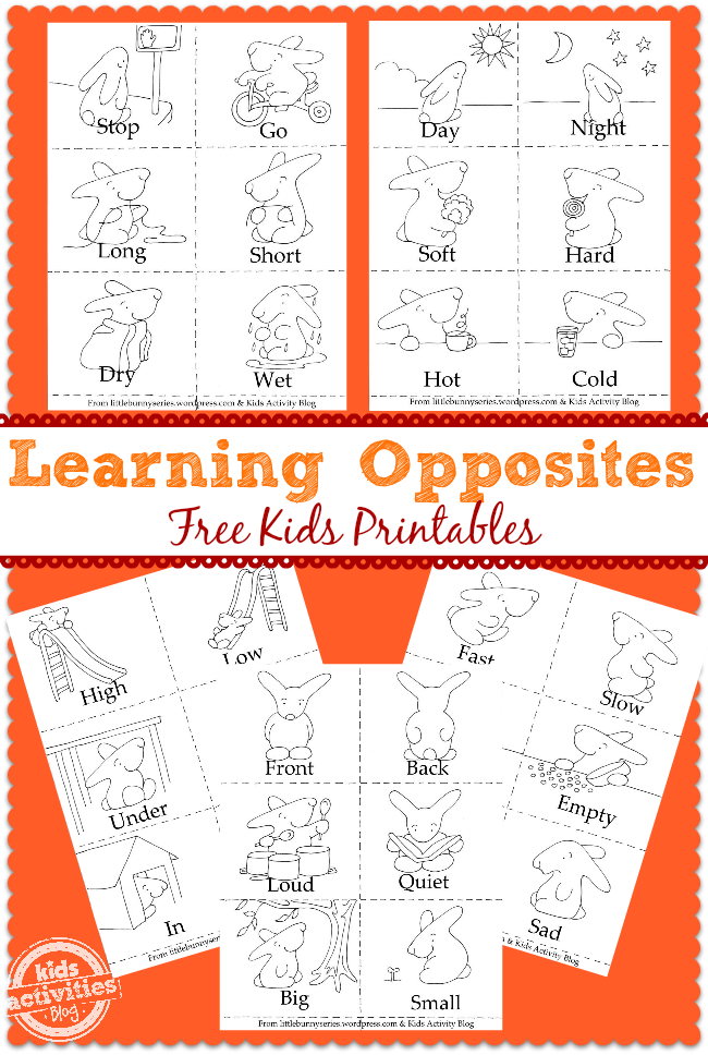 learning opposites bunny printables - Free Preschool Printable Books
