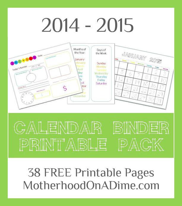 Calendar Notebook Homeschool : Free calendar binder printable pack homeschool deals