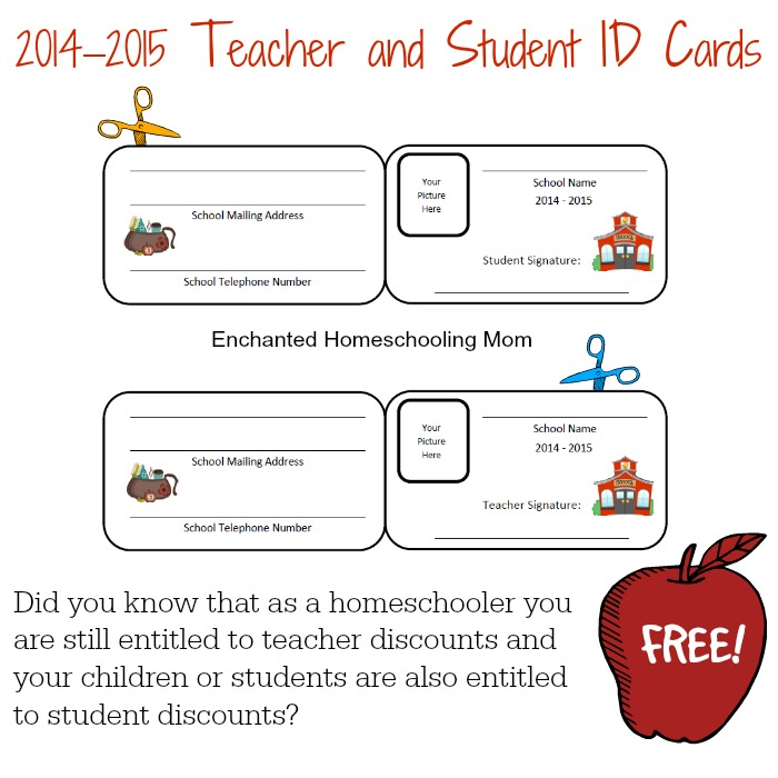 homeschool id card template - free homeschool teacher and student id cards free