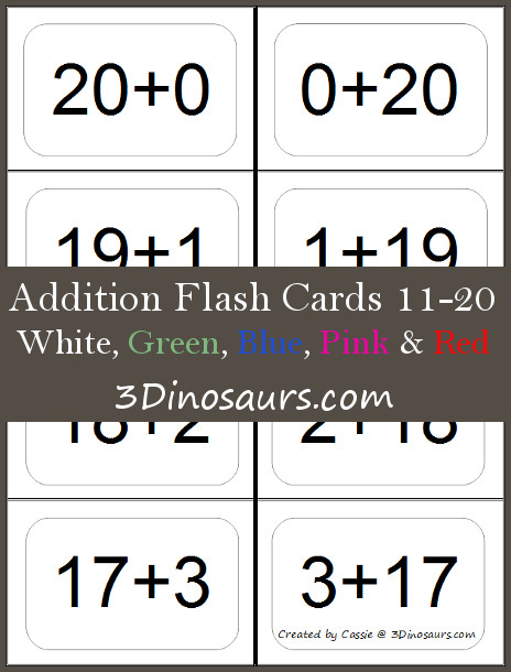 free addition flash cards 10 20 free homeschool deals. Black Bedroom Furniture Sets. Home Design Ideas