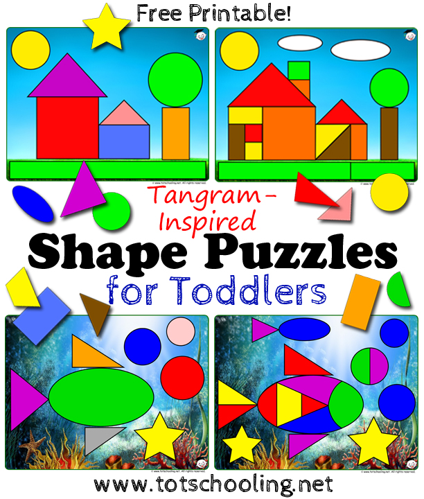FREE Tangram Shape Puzzle Printable for Toddlers – Tangram Puzzles Worksheets
