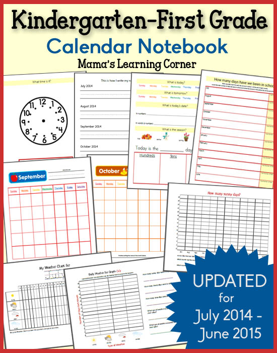 Kindergarten Calendar Notebook : Kindergarten first grade calendar notebook free