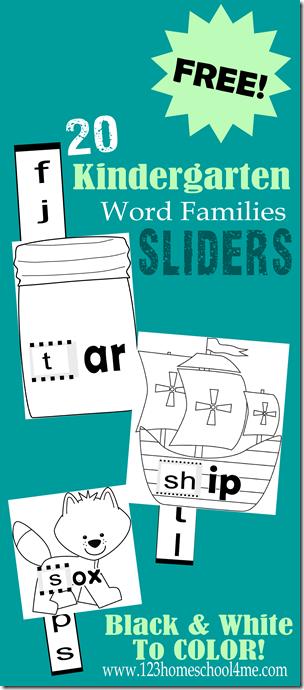 20 Kindergarten Word Family Sliders Free Free Homeschool