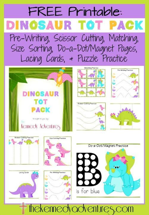 free printable dinosaur tot pack free homeschool deals. Black Bedroom Furniture Sets. Home Design Ideas