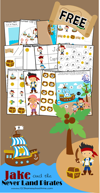 FREE Jake and the Neverland Pirates Worksheet Pack  Free