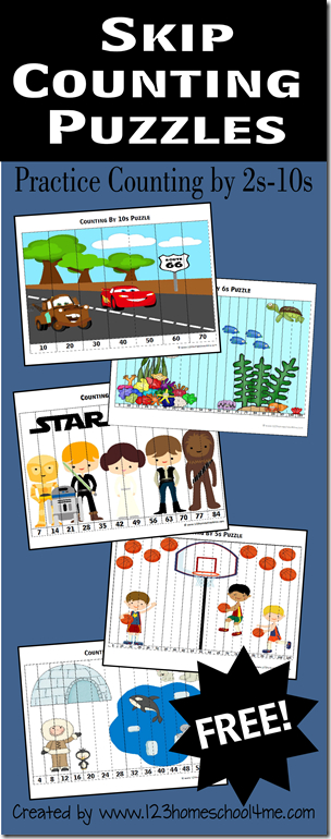 free skip counting puzzles free homeschool deals. Black Bedroom Furniture Sets. Home Design Ideas