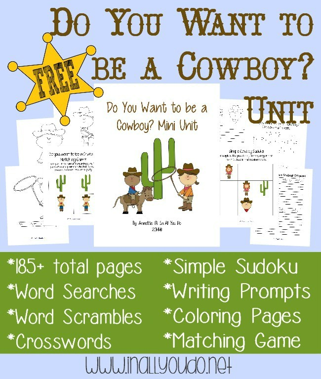 Cowboy Unit And Wild West Printables Subscriber Freebies
