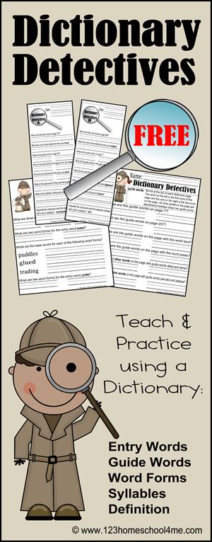 FREE Dictionary Detective Worksheets | Free Homeschool Deals