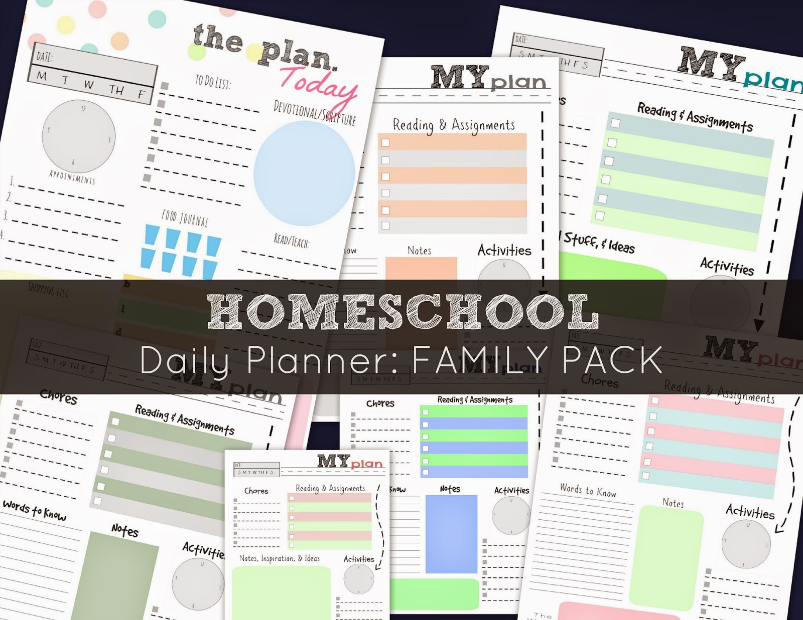free homeschool daily planner  family pack