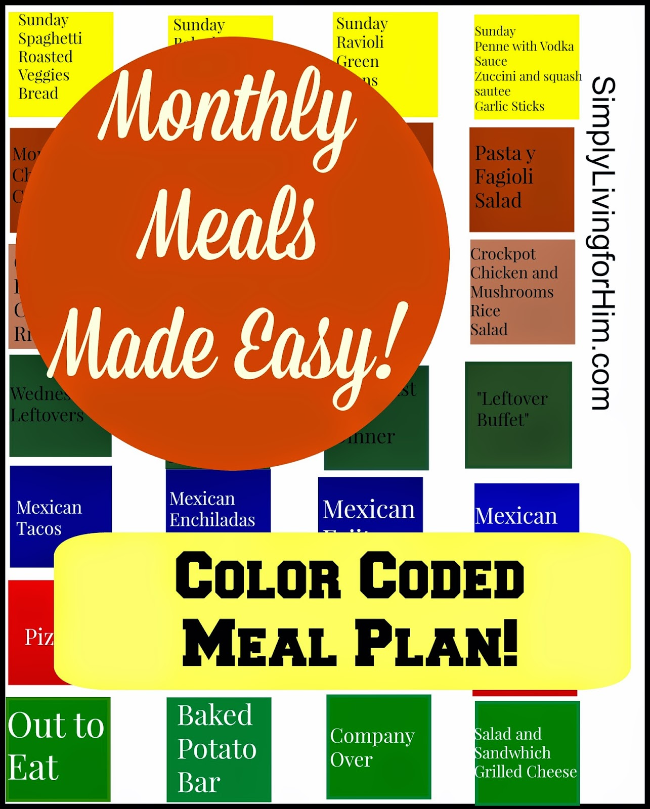FREE Printable Color Coded Meal Planner   Free Homeschool ...