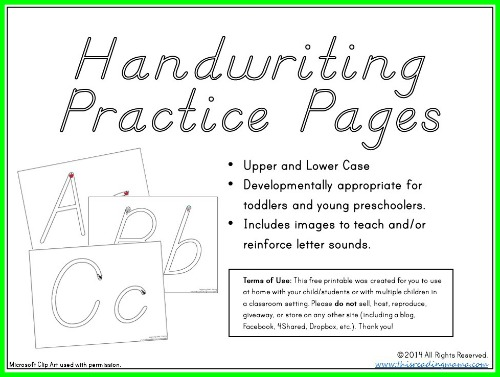 free young child handwriting practice