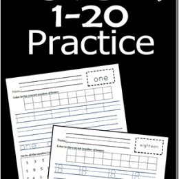 FREE Kindergarten 1-20 Number Practice Set
