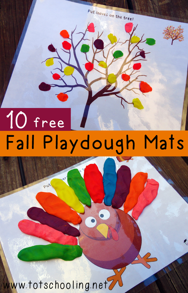 Free Set Of 10 Fall Themed Playdough Mats Free