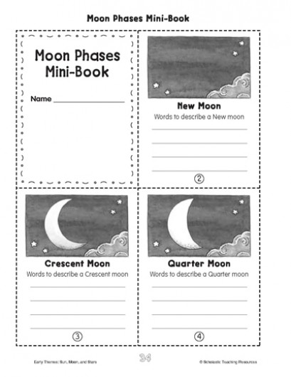 Free Printable Moon Phases Mini Book Free Homeschool Deals