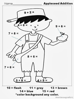 Johnny Appleseed Coloring Page Free Johnny Appleseed Printable Math Page  Free Homeschool Deals ©
