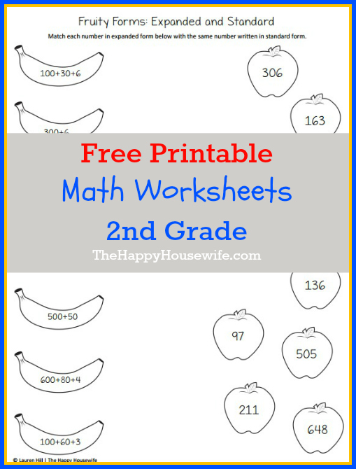 Free learning worksheets for 2nd graders