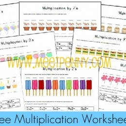 FREE Multiplication Worksheets Fact Cards with Visuals
