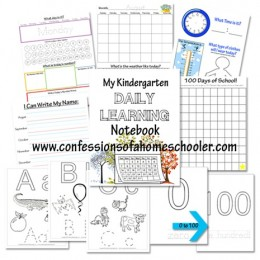 FREE Kindergarten Daily Learning Notebook