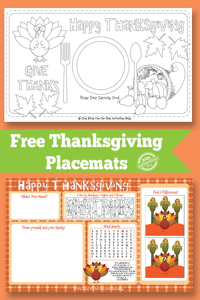 Free Thanksgiving Placemats Free Homeschool Deals