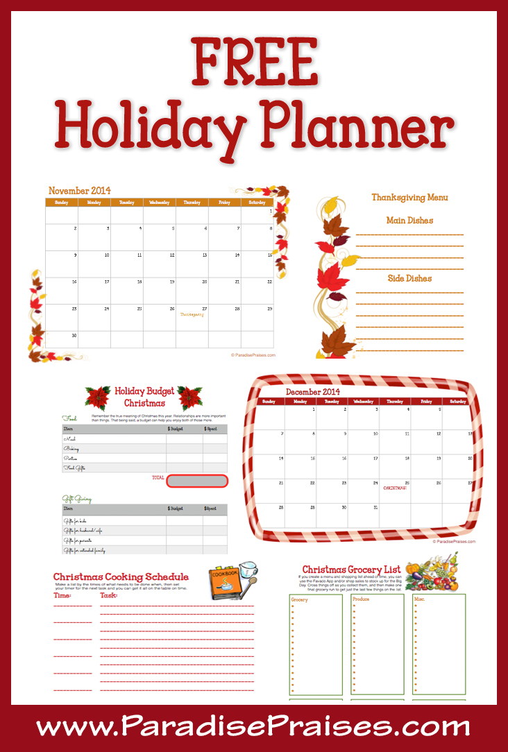 free 16 page holiday planner