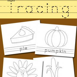 FREE Thanksgiving Word and Picture Tracing Pages
