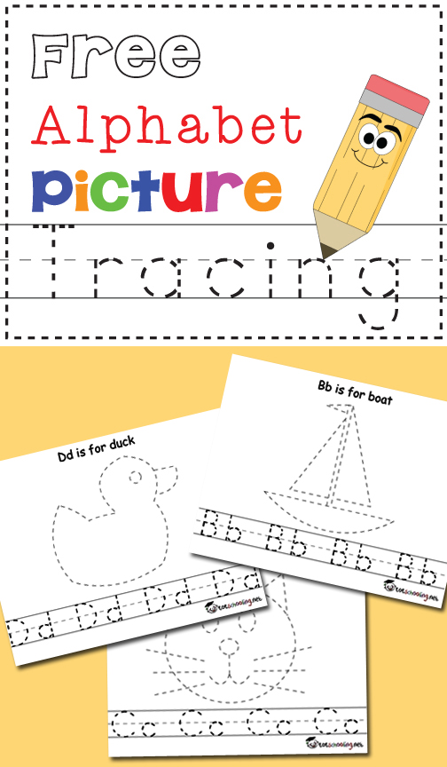 free alphabet picture tracing pages free homeschool deals. Black Bedroom Furniture Sets. Home Design Ideas