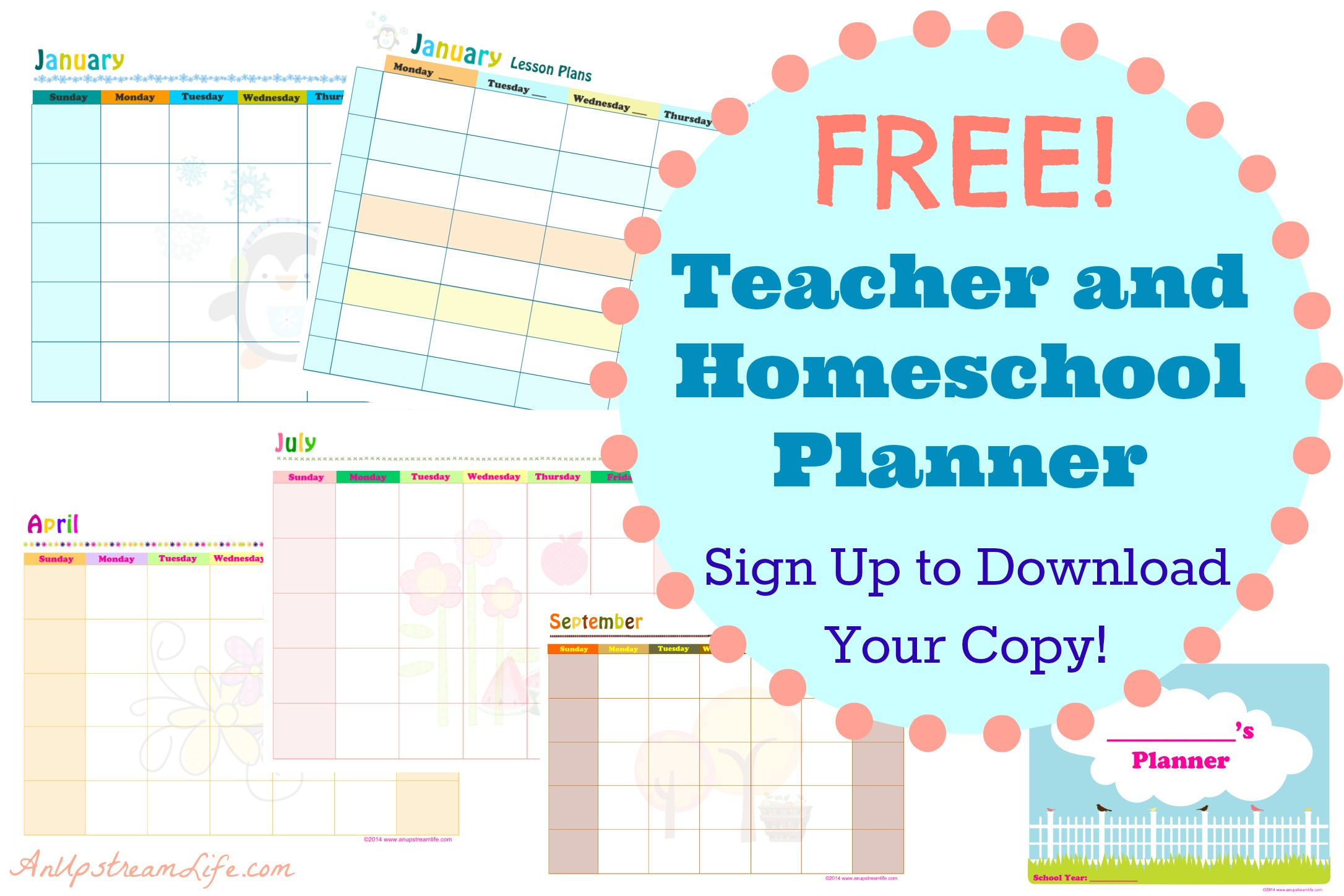 free teacher and homeschool planner  subscriber freebie