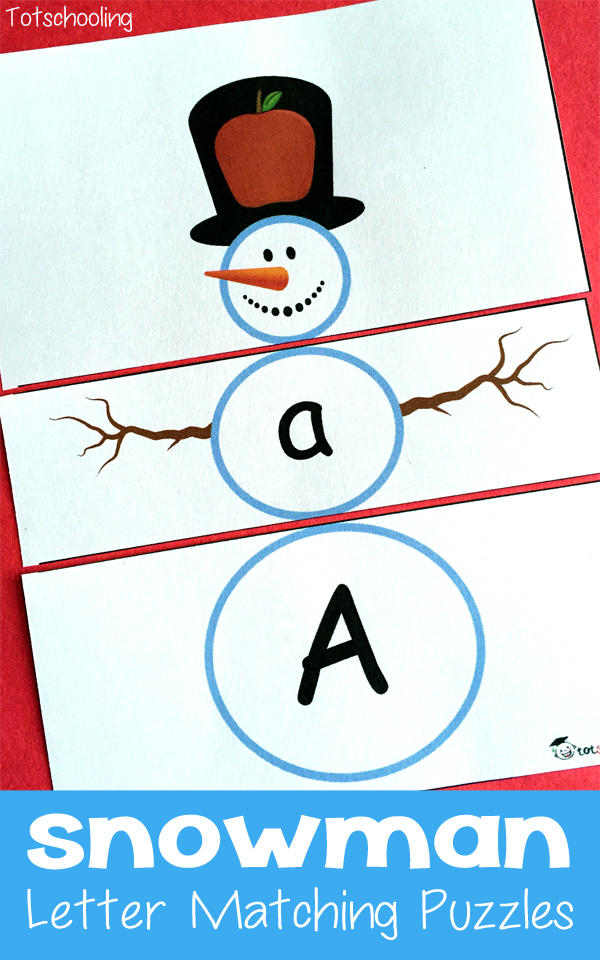 free printable snowman letter matching puzzles free homeschool deals. Black Bedroom Furniture Sets. Home Design Ideas