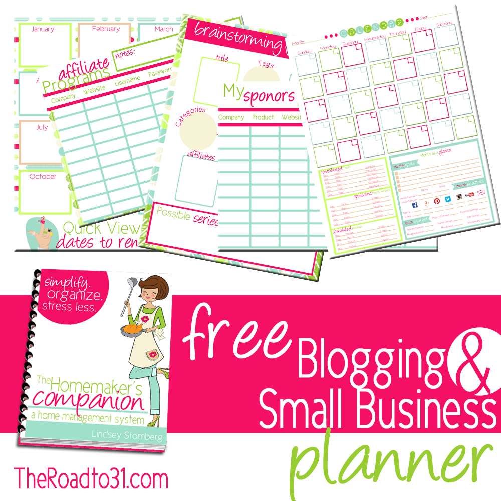 the road to 31 has a free blogging and small business planner for anyone who subscribes to her site in this freebie you will find bussiness planner