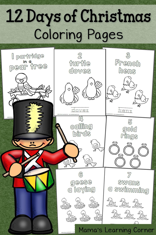 Twelve days of christmas coloring page - Twelve Days Of Christmas Coloring Page