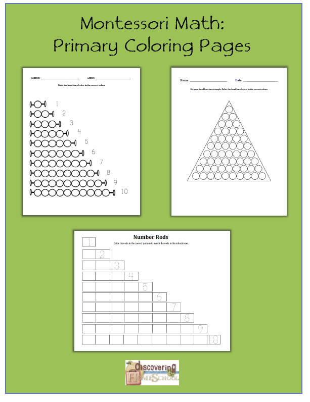 Free Montessori Math Primary Coloring