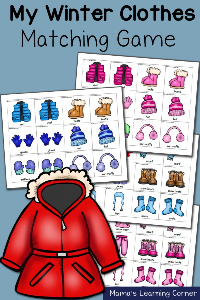 free winter clothes matching game printables for prek 4 free homeschool deals. Black Bedroom Furniture Sets. Home Design Ideas