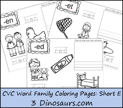 free short vowel e word family coloring pages  free homeschool  &