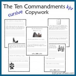 FREE Ten Commandments Copywork
