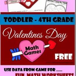 FREE Valentines Day Math Games K-4