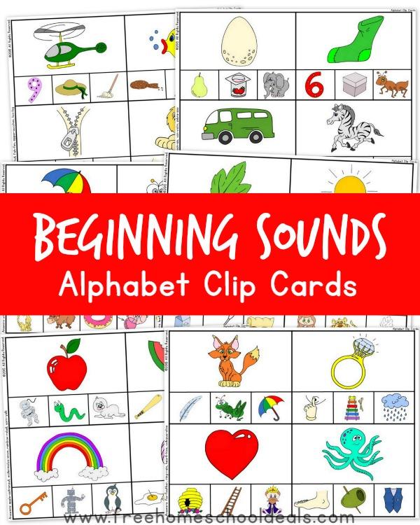 FREE Beginning Sounds Alphabet Clip Cards | Free Homeschool Deals ©