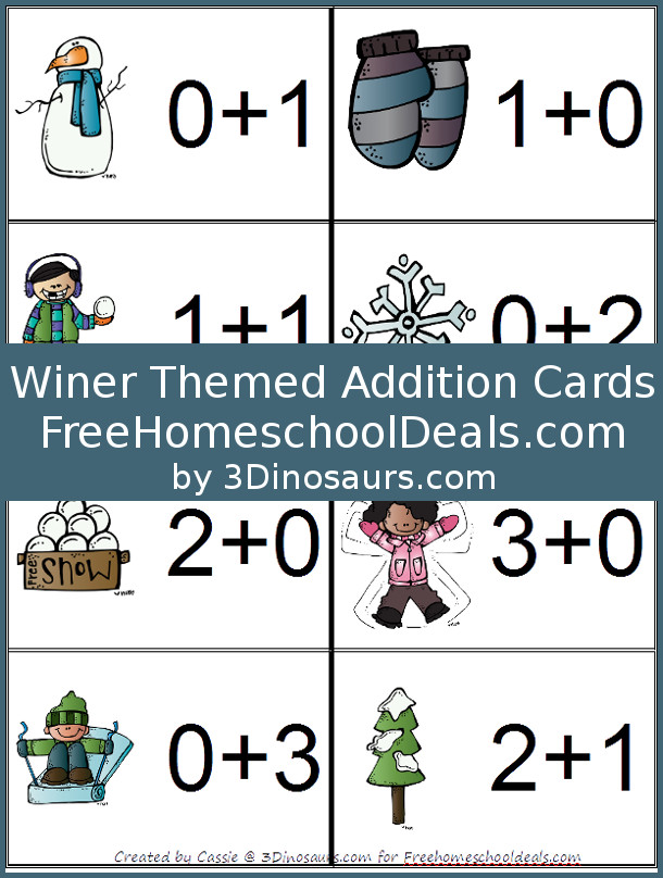 free winter themed addition cards instant download free homeschool deals. Black Bedroom Furniture Sets. Home Design Ideas