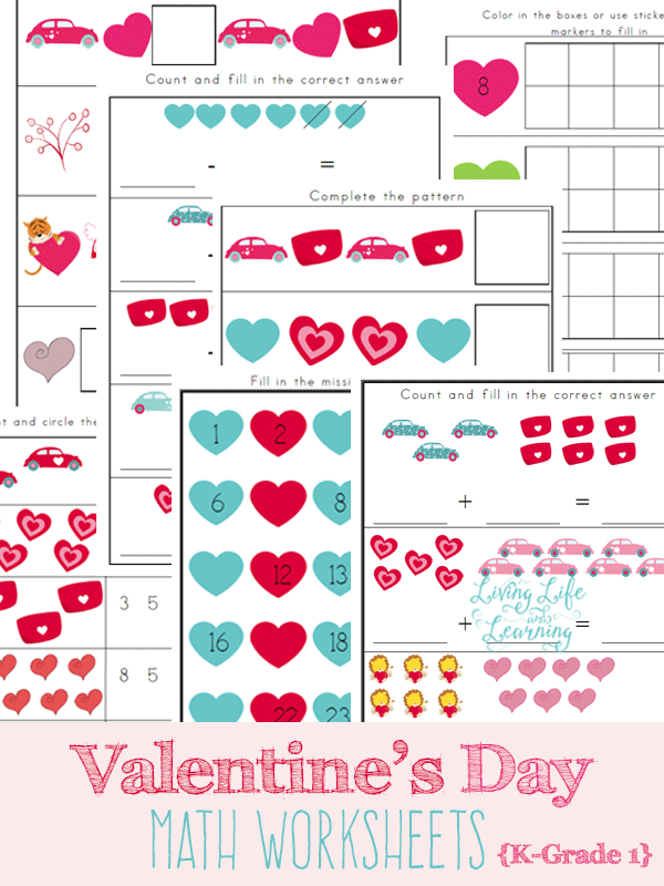 free valentine 39 s day math worksheets pack 14 pages free homeschool deals. Black Bedroom Furniture Sets. Home Design Ideas