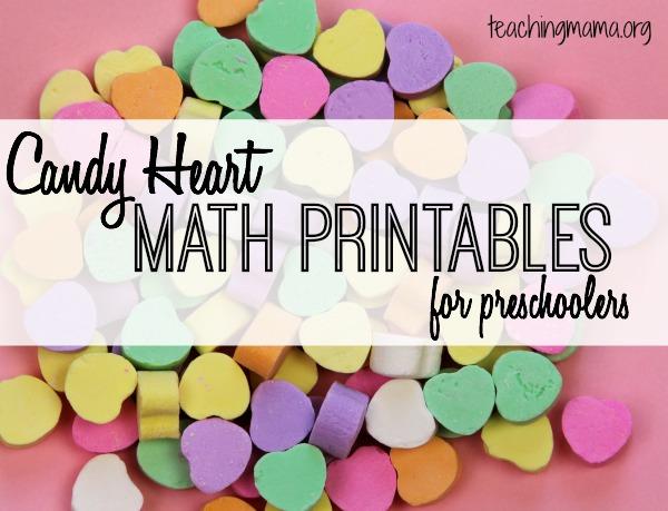 candy heart math printables for preschoolers - Preschool Valentine Songs